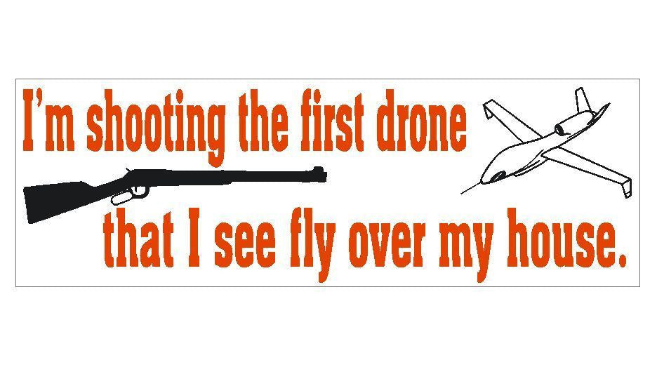 Anti Obama Gun Shooting Down Drones Political Bumper Sticker MADE IN USA D356 - Winter Park Products