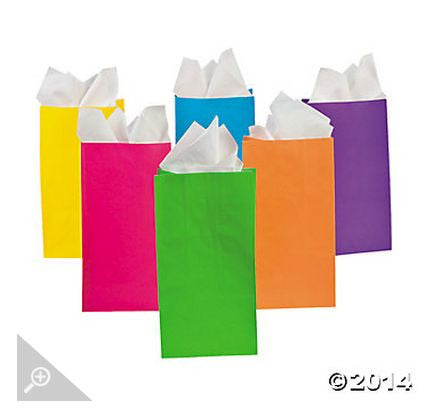 Assorted Neon Color Paper Bags AS LOW AS 26¢ ea - Winter Park Products