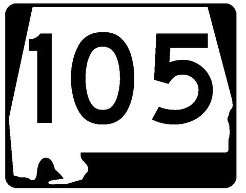 Alabama State Route 105 Sticker R4502 Highway Sign Road Sign Decal