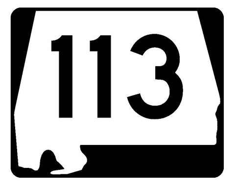 Alabama State Route 113 Sticker R4509 Highway Sign Road Sign Decal