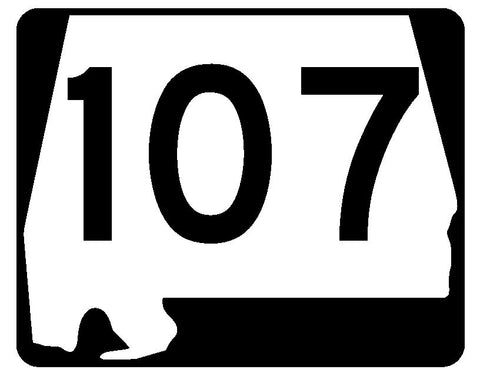 Alabama State Route 107 Sticker R4504 Highway Sign Road Sign Decal