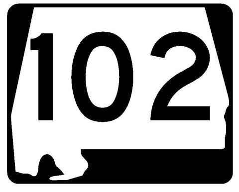 Alabama State Route 102 Sticker R4496 Highway Sign Road Sign Decal