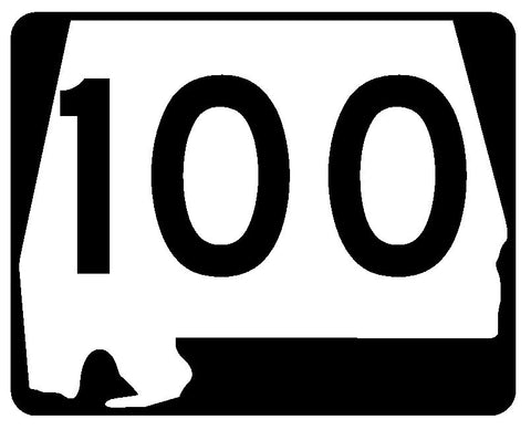 Alabama State Route 100 Sticker R4494 Highway Sign Road Sign Decal