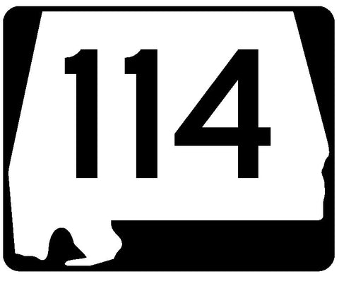 Alabama State Route 114 Sticker R4510 Highway Sign Road Sign Decal
