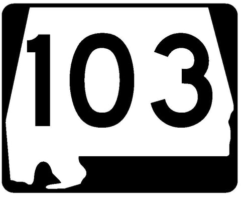 Alabama State Route 103 Sticker R4500 Highway Sign Road Sign Decal