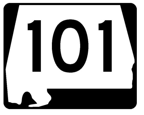 Alabama State Route 101 Sticker R4495 Highway Sign Road Sign Decal
