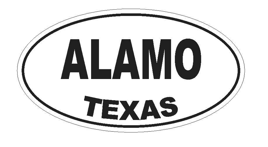Alamo Texas Oval Bumper Sticker or Helmet Sticker D3106 Euro Oval - Winter Park Products