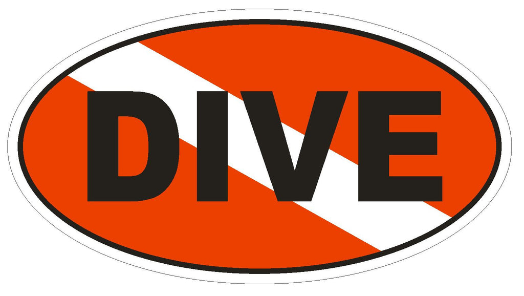DIVE Oval Bumper Sticker or Helmet Sticker D1834 Euro Oval - Winter Park Products