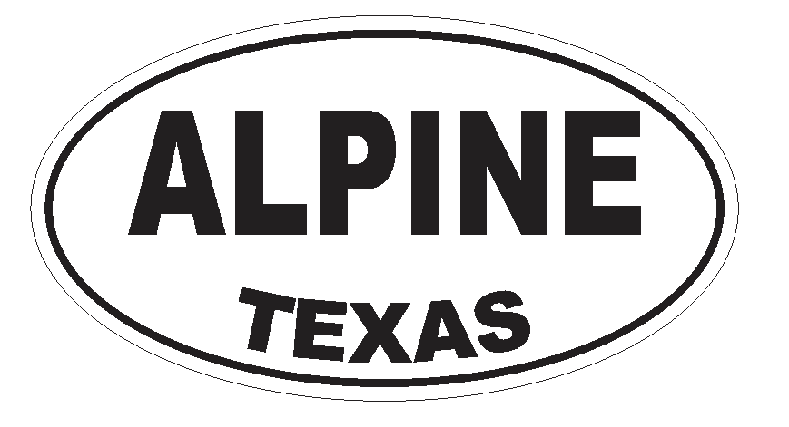 Alpine Texas Oval Bumper Sticker or Helmet Sticker D3111 Euro Oval - Winter Park Products