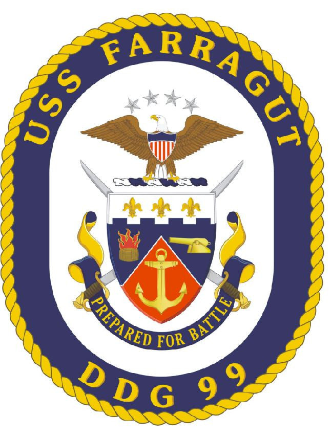 USS farragut Sticker Military Armed Forces Navy Decal M245 - Winter Park Products