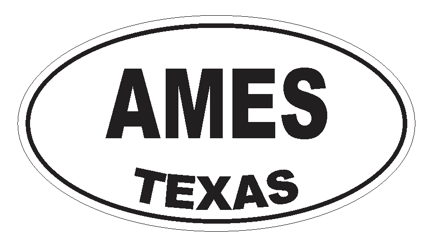 Ames Texas Oval Bumper Sticker or Helmet Sticker D3114 Euro Oval - Winter Park Products
