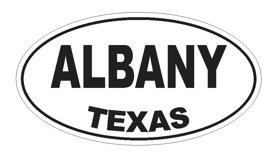 Albany Texas Oval Bumper Sticker or Helmet Sticker D3107 Euro Oval - Winter Park Products