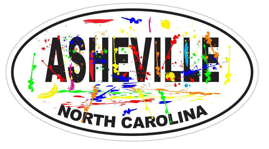 Asheville North Carolina Oval Bumper Sticker or Helmet Sticker D3699 Euro Oval