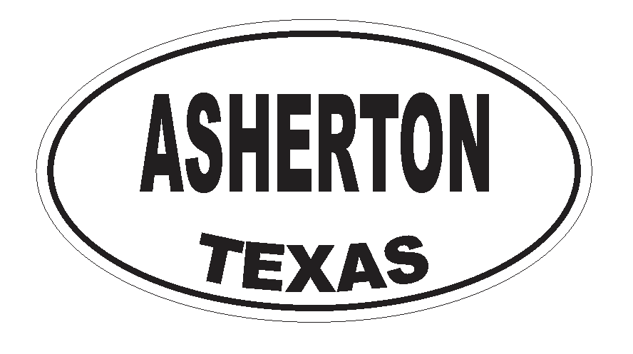 Asherton Texas Oval Bumper Sticker or Helmet Sticker D3140 Euro Oval - Winter Park Products