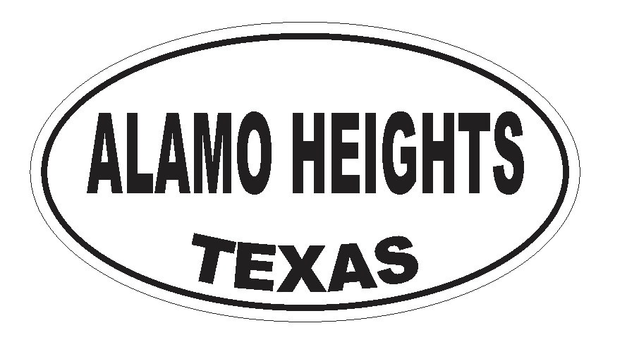 Alamo Heights Texas Oval Bumper Sticker or Helmet Sticker D3148 Euro Oval - Winter Park Products