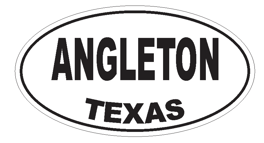 Angleton Texas Oval Bumper Sticker or Helmet Sticker D3136 Euro Oval - Winter Park Products
