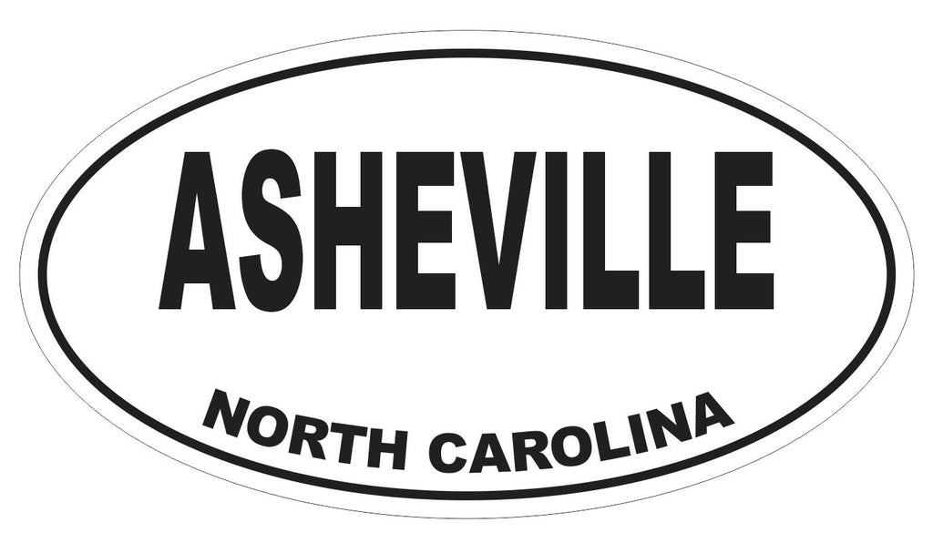 Asheville North Carolina Oval Bumper Sticker or Helmet Sticker D3698 Euro Oval