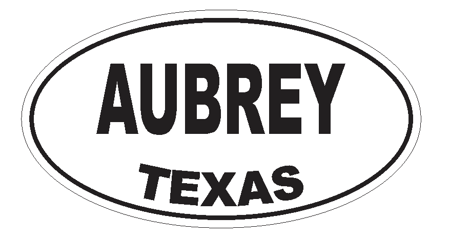 Aubrey Texas Oval Bumper Sticker or Helmet Sticker D3141 Euro Oval - Winter Park Products