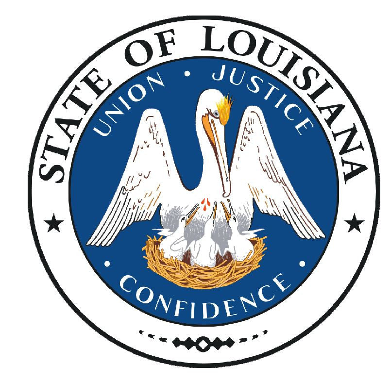 Louisiana State Seal Vinyl Sticker R537 - Winter Park Products