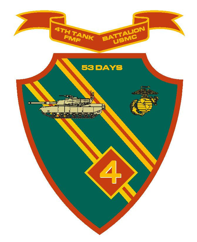 4th Tank Battalion USMC Vinyl Sticker R277 - Winter Park Products