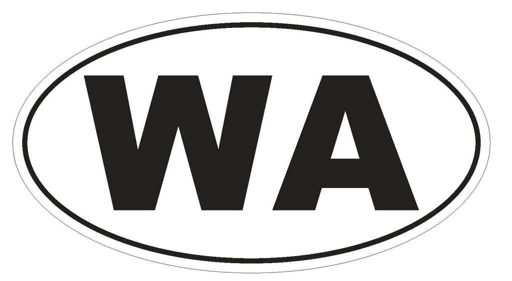 WA Washington Euro Oval Bumper Sticker or Helmet Sticker D493 - Winter Park Products