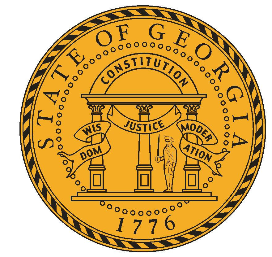 Georgia State Seal Vinyl Sticker R529 - Winter Park Products