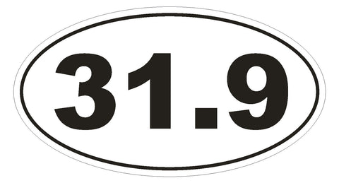 31.9 Olympic Distance Triathlon Marathon EURO OVAL Bumper Sticker or Helmet Sticker D499 - Winter Park Products