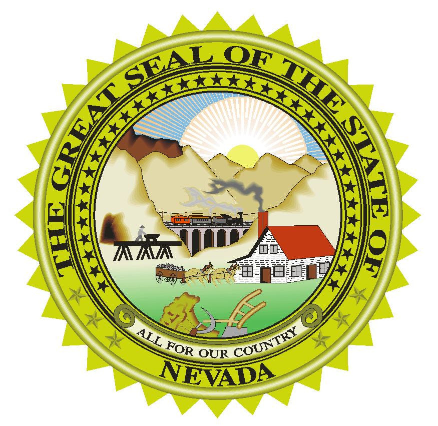 Nevada State Seal Vinyl Sticker R545 - Winter Park Products