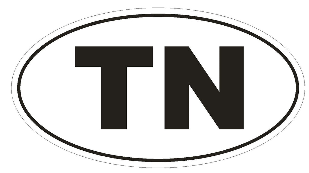TN Tennessee Euro Oval Bumper Sticker or Helmet Sticker D489 Tunisia Country Code - Winter Park Products