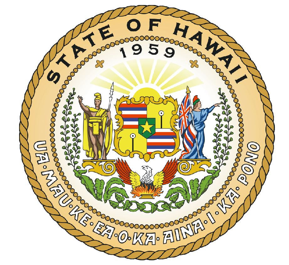 Hawaii State Seal Vinyl Sticker R530 - Winter Park Products