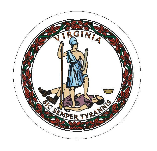 Virginia State Seal Vinyl Sticker R11 - Winter Park Products