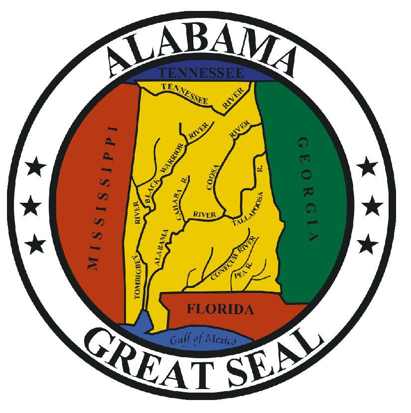 Alabama State Seal Vinyl Sticker R522 - Winter Park Products