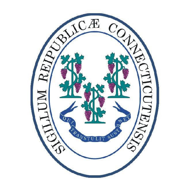 Connecticut State Seal Vinyl Sticker R527 - Winter Park Products