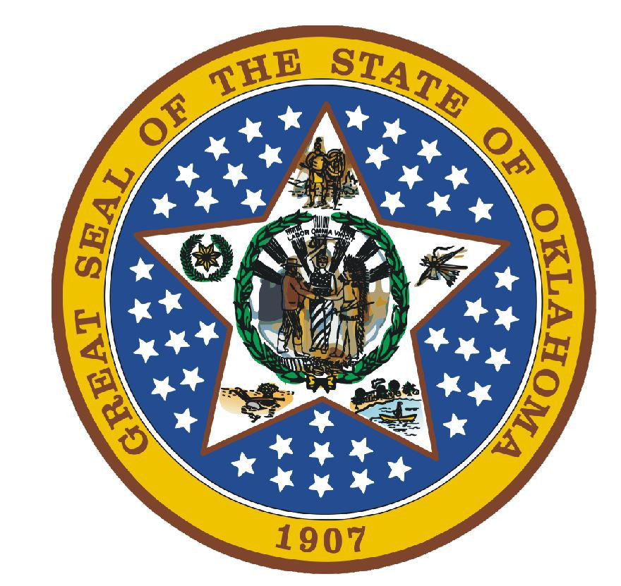 Oklahoma State Seal Vinyl Sticker R553 - Winter Park Products