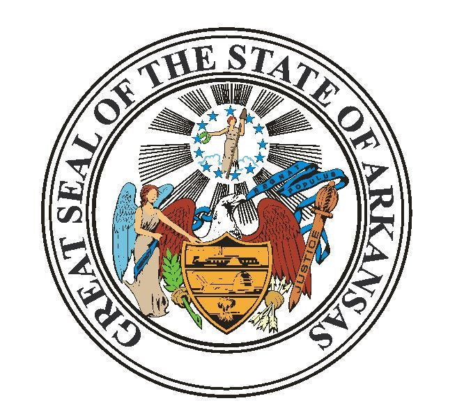 Arkansas State Seal Vinyl Sticker R10 - Winter Park Products