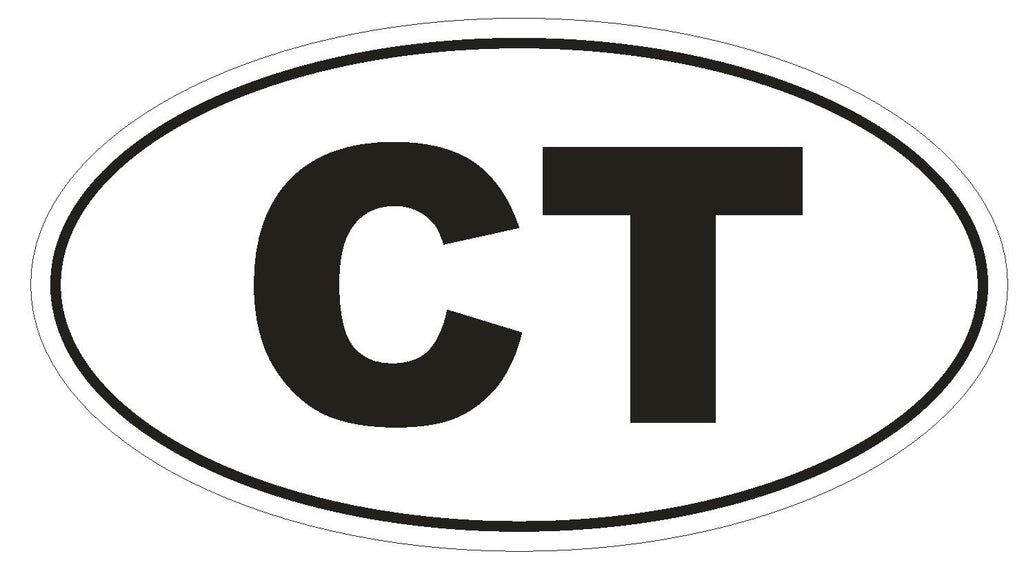 CT Connecticut Euro Oval Bumper Sticker or Helmet Sticker D452 - Winter Park Products