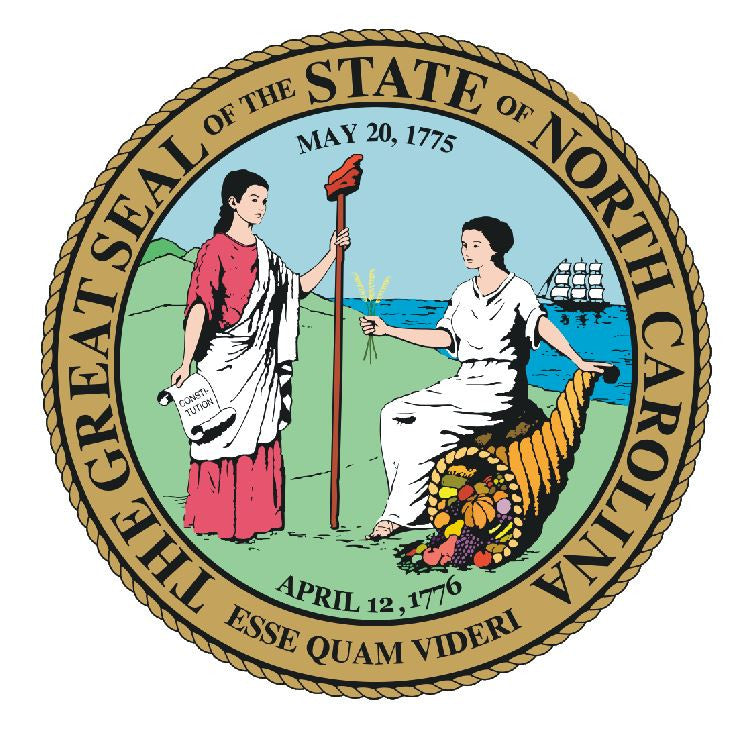 North Carolina State Seal Vinyl Sticker R550 - Winter Park Products
