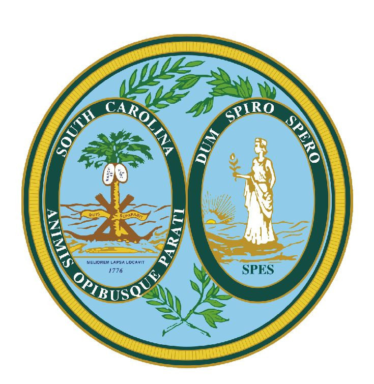 South Carolina State Seal Vinyl Sticker R557 - Winter Park Products
