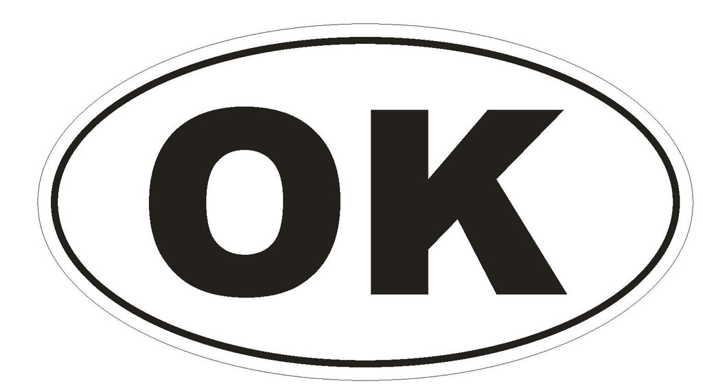 OK Oklahoma Euro Oval Bumper Sticker or Helmet Sticker D482 - Winter Park Products