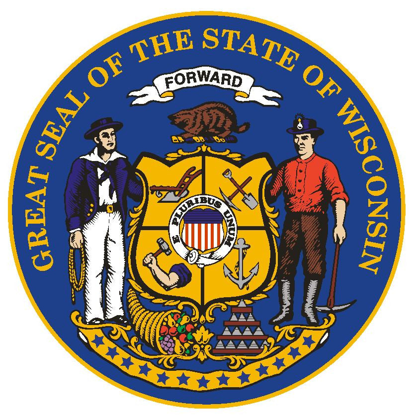 Wisconsin State Seal Vinyl Sticker R564 - Winter Park Products