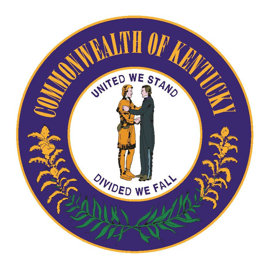 Kentucky State Seal Vinyl Sticker R536 - Winter Park Products