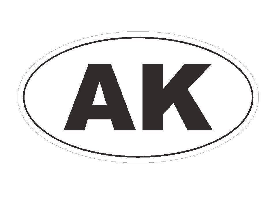 AK Alaska Euro Oval Bumper Sticker or Helmet Sticker D136 - Winter Park Products