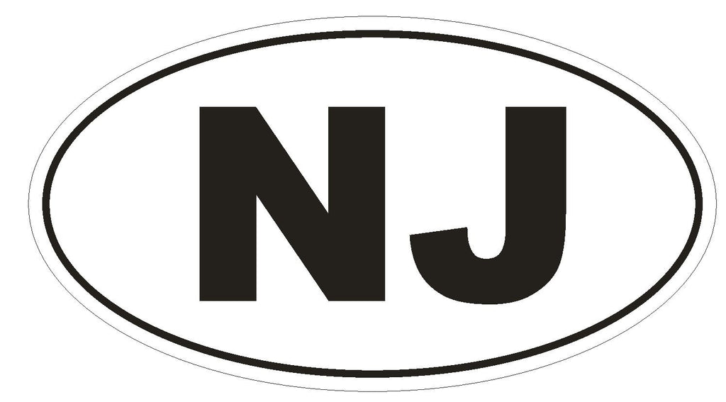 NJ New Jersey Euro Oval Bumper Sticker or Helmet Sticker D476 - Winter Park Products