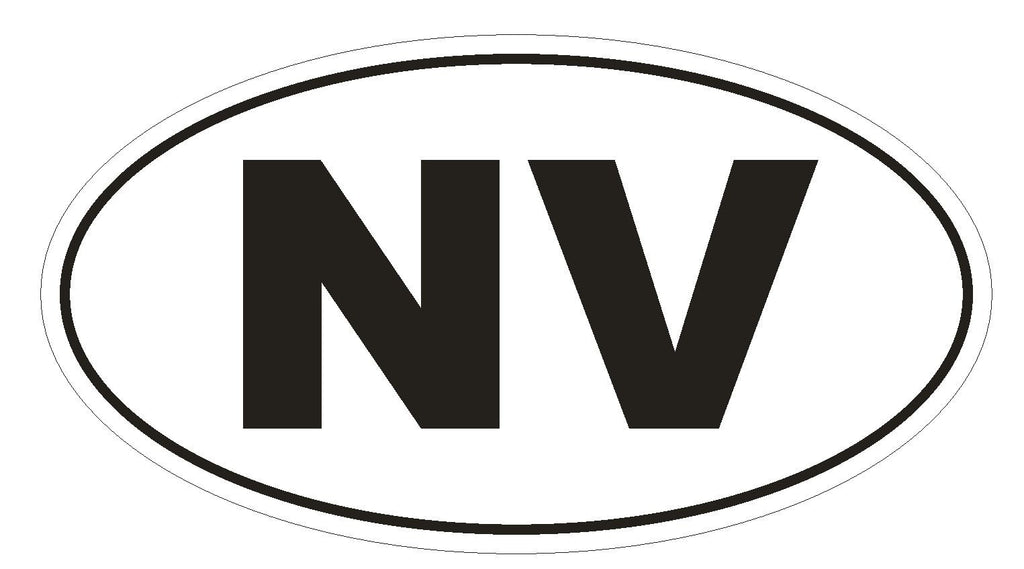 NV Nevada Euro Oval Bumper Sticker or Helmet Sticker D474 - Winter Park Products