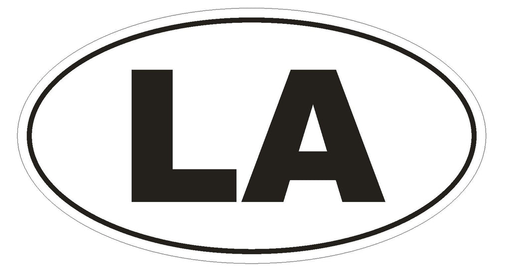 LA Louisiana Euro Oval Bumper Sticker or Helmet Sticker D464 Laos Country Code - Winter Park Products