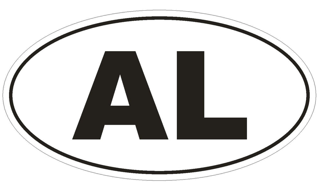 AL Alabama Euro Oval Bumper Sticker or Helmet Sticker D444 Albania Country Code - Winter Park Products
