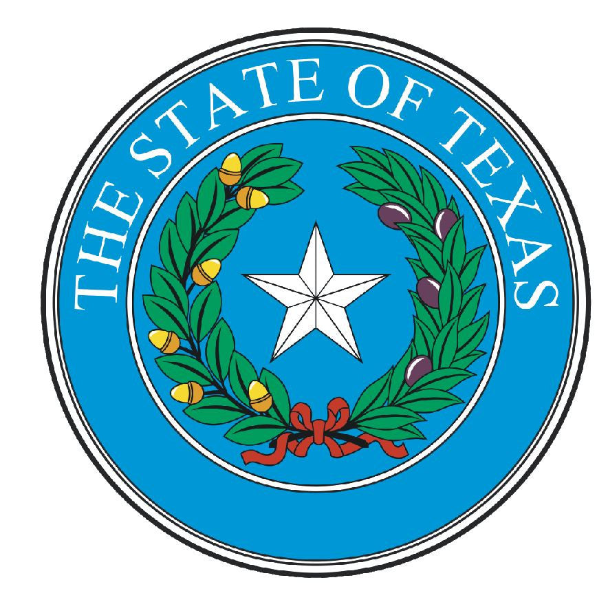 Texas State Seal Vinyl Sticker R560 - Winter Park Products