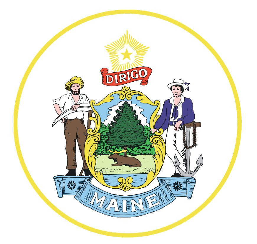 Maine State Seal Vinyl Sticker R538 - Winter Park Products