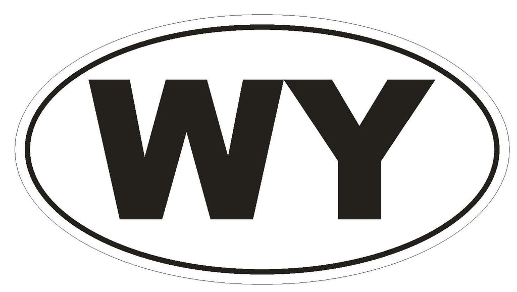 WY Wyoming Euro Oval Bumper Sticker or Helmet Sticker D496 - Winter Park Products