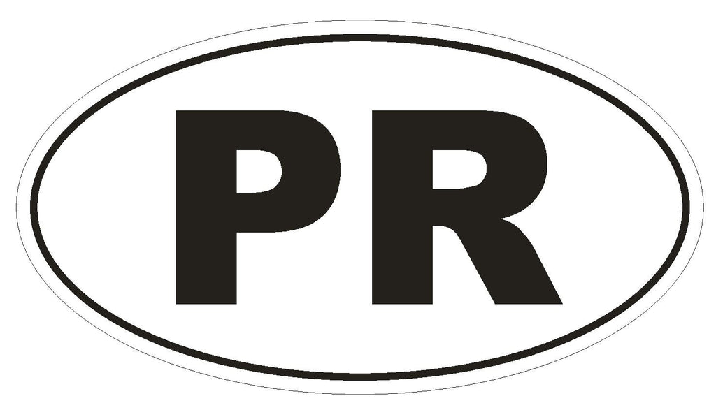 PR Puerto Rico Euro Oval Bumper Sticker or Helmet Sticker D485 - Winter Park Products